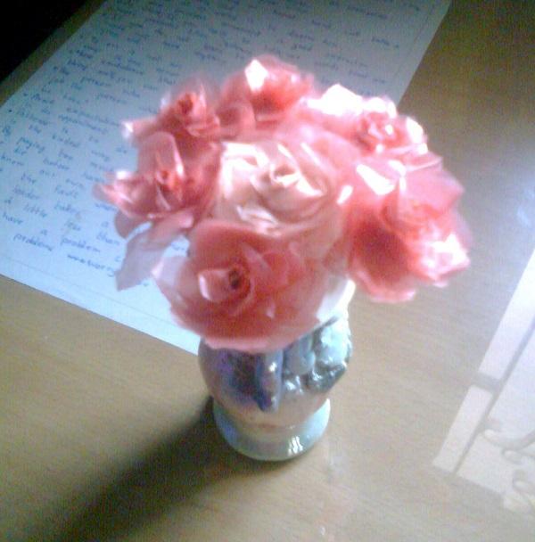 Plastic bag flowers