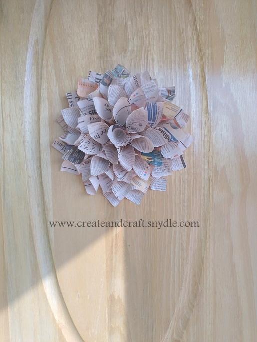 How to make paper dahlias diy wall decor create and craft newspaper dahlia flower mightylinksfo